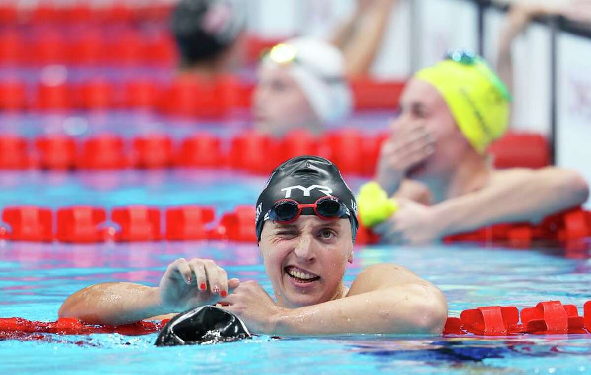 TOKYO, JAPAN - JULY 26: Katie Ledecky of Team United States reacts after winning the silver medal in the Women's 400m Freestyle Final on day three of the Tokyo 2020 Olympic Games at Tokyo Aquatics Centre on July 26, 2021 in Tokyo, Japan. (Photo by Tom Pennington/Getty Images)