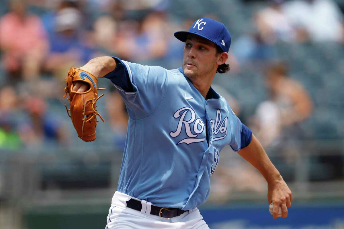 Kansas City Royals pitcher Daniel Lynch throws to a batter during the first inning of a baseball game against the Detroit Tigers at Kauffman Stadium in Kansas City, Mo., Sunday, July 25, 2021. (AP Photo/Colin E. Braley)