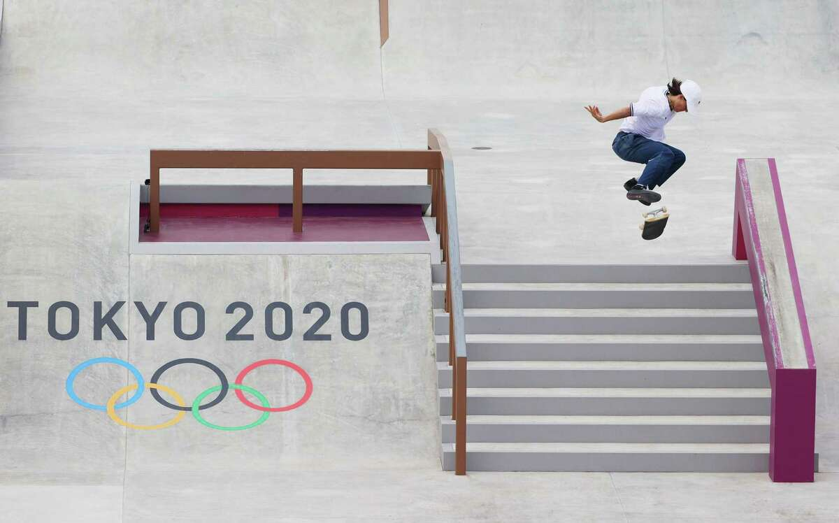 Alexis Sablone competes during the women's skateboarding street final at the Tokyo Olympic Games on Monday.