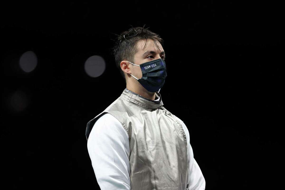 CHIBA, JAPAN - JULY 26: Alexander Massialas of Team United States prior to his match against Peter Joppich of Team Germany in Men's Foil Individual second round on day three of the Tokyo 2020 Olympic Games at Makuhari Messe on July 26, 2021 in Chiba, Japan. (Photo by Elsa/Getty Images)