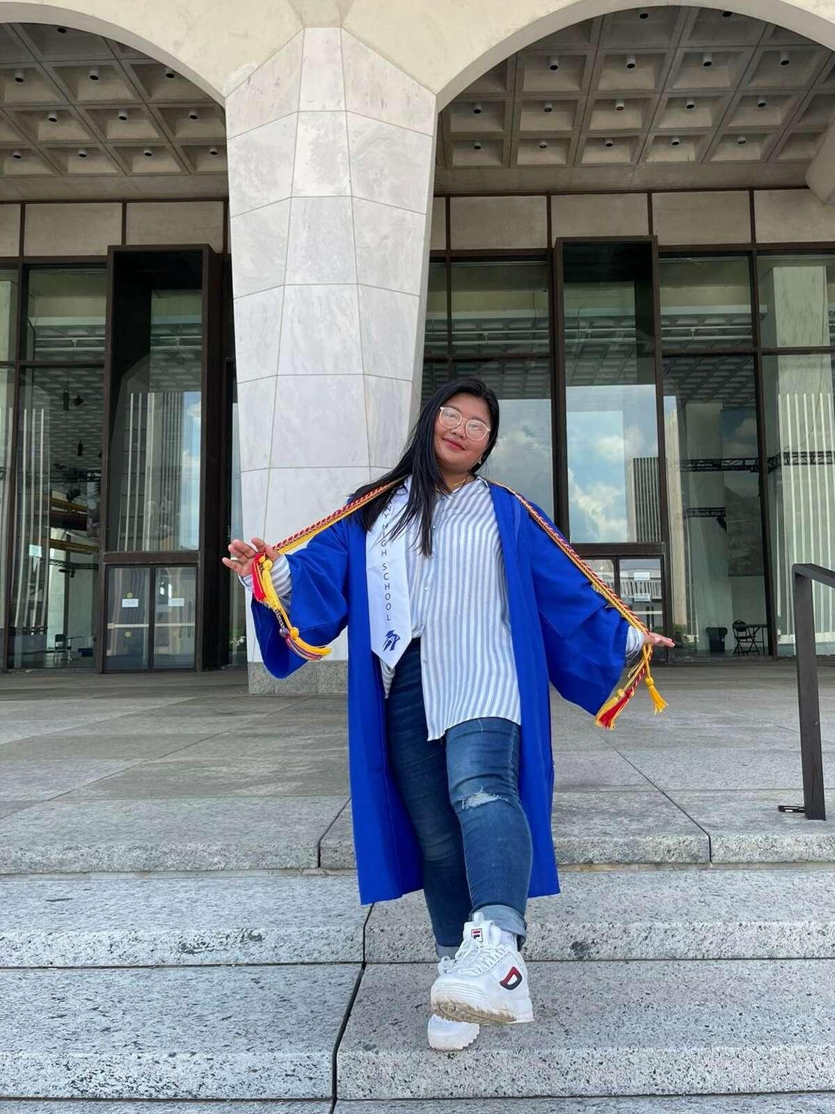 Myanoe Aung on the dayof her Albany High School graduation ceremony in June 2021. (Photo courtesy of Myanoe Aung)