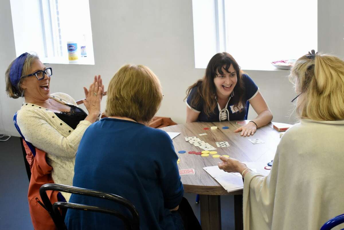 """Playwright and Barrington Stage CompanyDevelopment Director Jessica Provenz, center, in rehearsal for her world premiere comedy """"Boca,"""" directed by Julianne Boyd. (Courtesy: Barrington Stage Company)"""