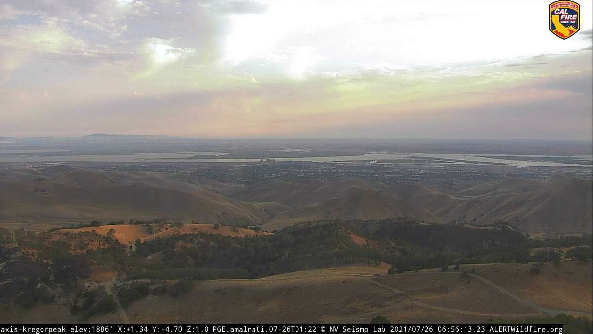 The early morning view from the Alert Network remote camera on Kregor Peak in Contra Costa County looking toward the Sacramento-San Joaquin delta on Monday, July 26, 2021.
