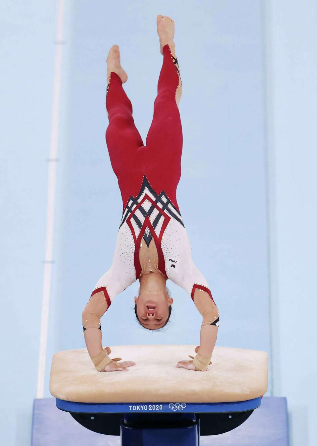 TOKYO, JAPAN - JULY 25: Kim Bui of Team Germany competes on vault during Women's Qualification on day two of the Tokyo 2020 Olympic Games at Ariake Gymnastics Centre on July 25, 2021 in Tokyo, Japan. (Photo by Jamie Squire/Getty Images)