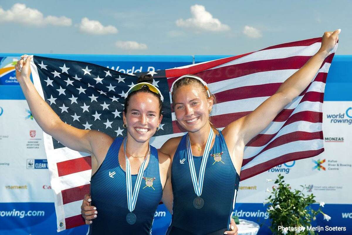 Caitlin Esse,who is an alum of the New Canaan High School Class of 2018, and a pair partner, Lucy Koven, who is of Greenwich, have earned a silver medal at the World Rowing 2021 Championship in Prague, Czech Republic, this past weekend.