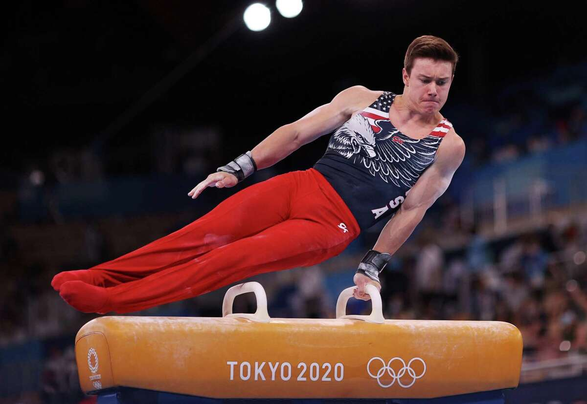 TOKYO, JAPAN - JULY 26: Brody Malone of Team United States competes on pommel horse during the Men's Team Final on day three of the Tokyo 2020 Olympic Games at Ariake Gymnastics Centre on July 26, 2021 in Tokyo, Japan. (Photo by Patrick Smith/Getty Images)