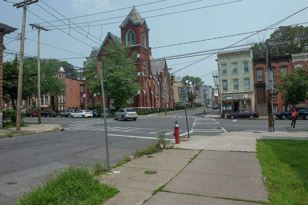 Intersection of Clinton and Lexington Avenue where a 32-year-old man was shot on Sunday night Monday, July 26, 2021 in Albany, N.Y. (Lori Van Buren/Times Union)