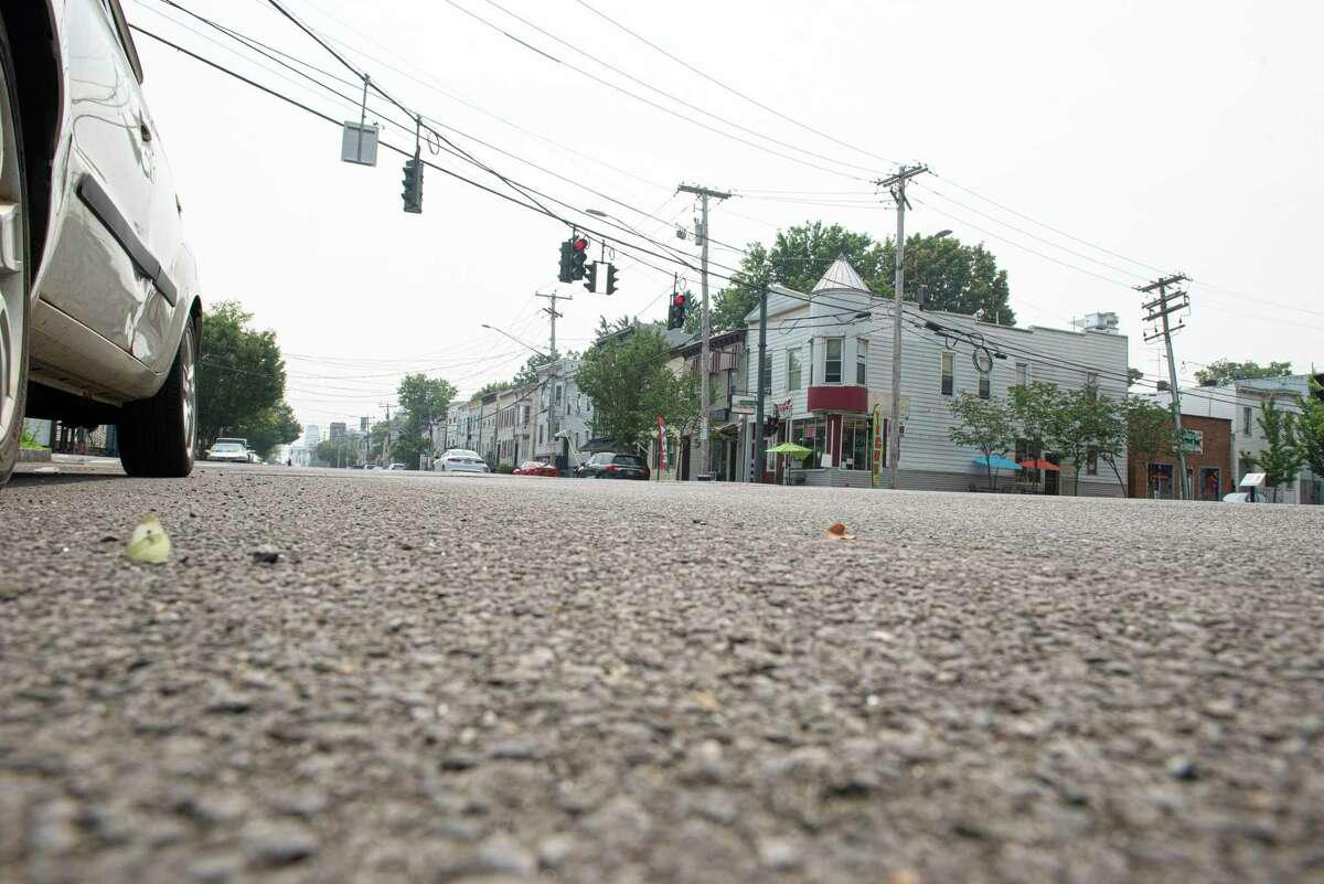 A 16-year-old was shot on Washington Avenue near Quail Street on Monday, July 26, 2021 in Albany, N.Y. (Lori Van Buren/Times Union)