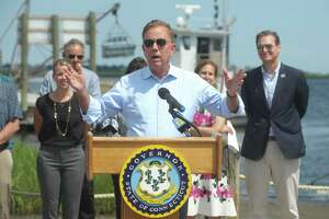 Governor Ned Lamont speaks at a news conference in Stratford, Conn. July 23, 2021. In a press release issued Monday, Lamont announced in partnership with Yale University a STEM challenge competition for students in grades 3 through 12 across the state.