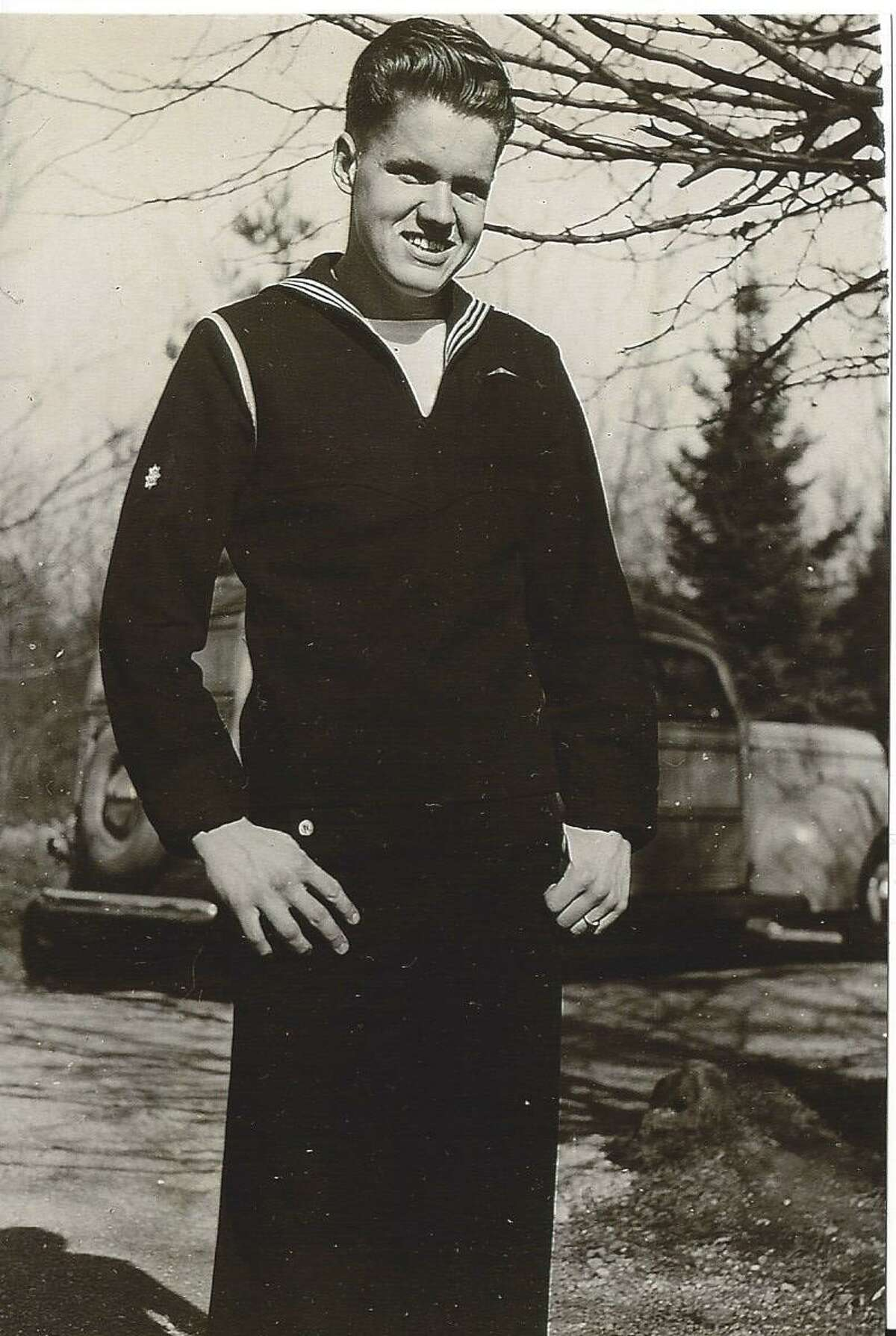 William Friend Emery dressed in his Navy blue uniform in spring 1945.