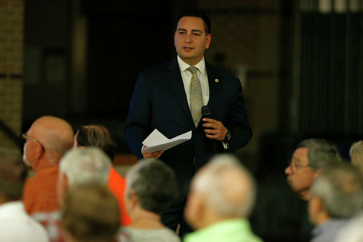State Rep. Philip Cortez speaks during a District 117 Legislative Town Hall Meeting held Thursday Oct. 26, 2017 at Briscoe Middle School.
