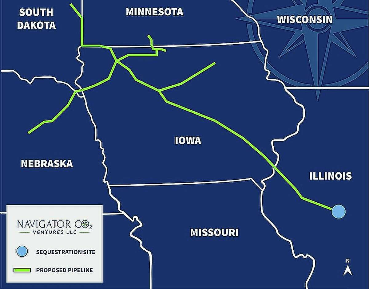 A preliminary route of a 1,200-mile carbon-capture pipeline that could go through parts of west-central Illinois.