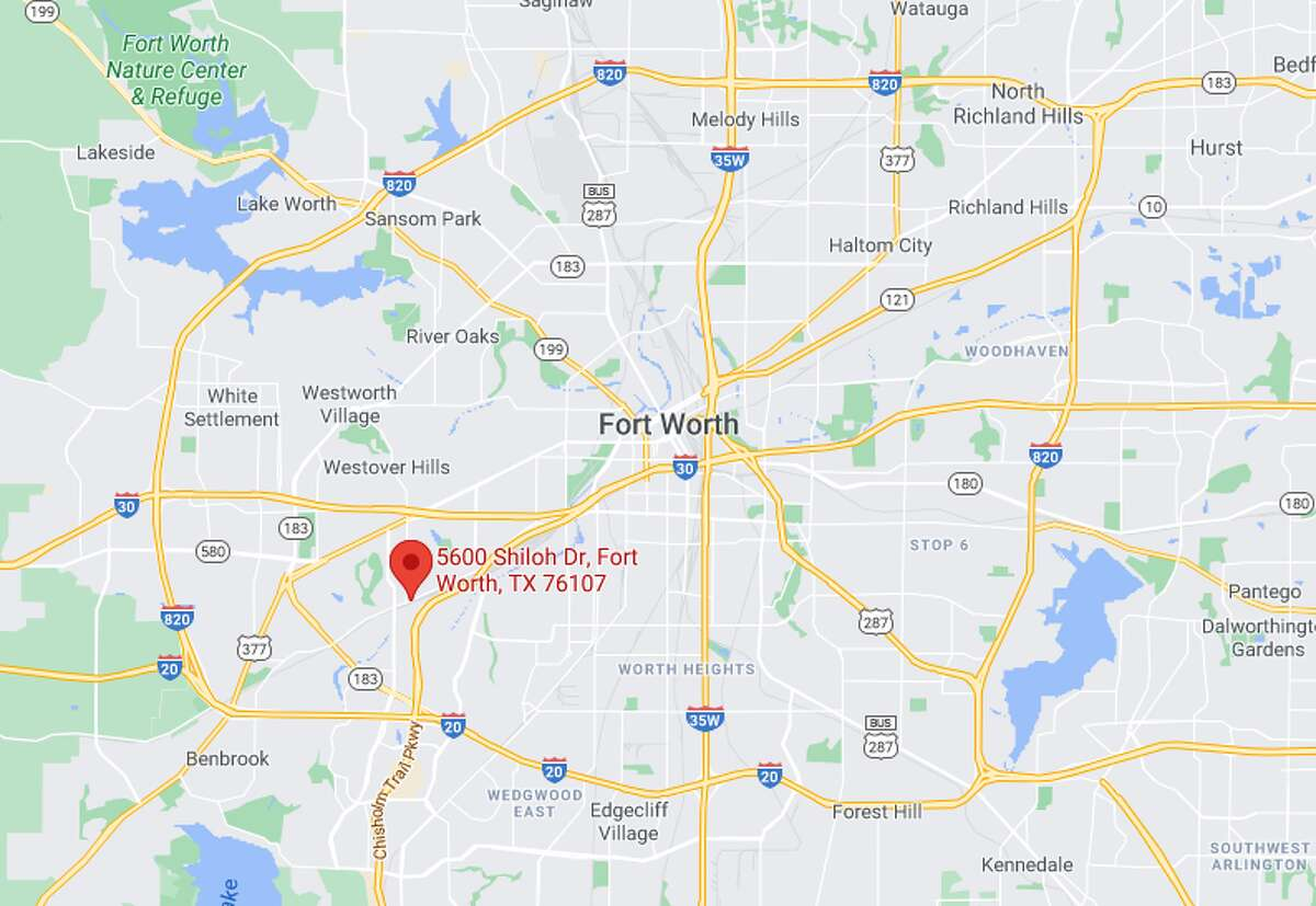 A map shows the 5600 block of Shiloh Drive in Fort Worth.