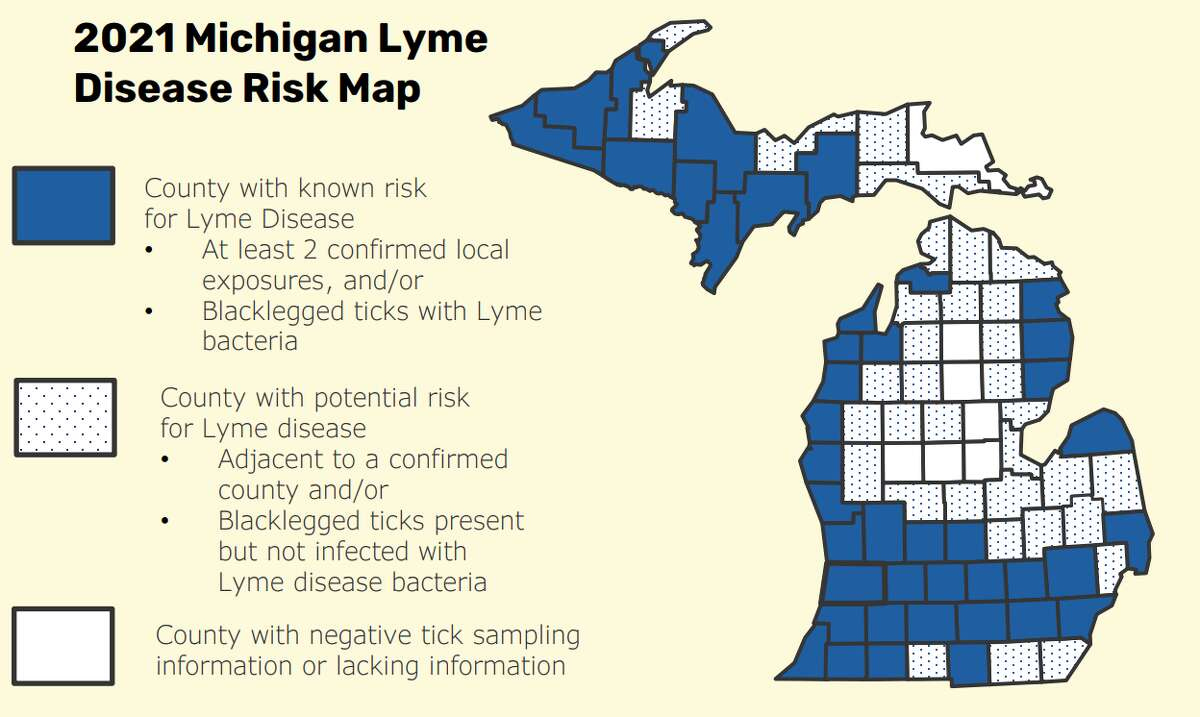 """Map showing the risk of Lyme disease across Michigan. From a recently released report """"Michigan Trends in Tickborne Disease, 2016-2020,"""" which includes up-to-date information on the types of ticks that are common in Michigan and the diseases they can carry."""