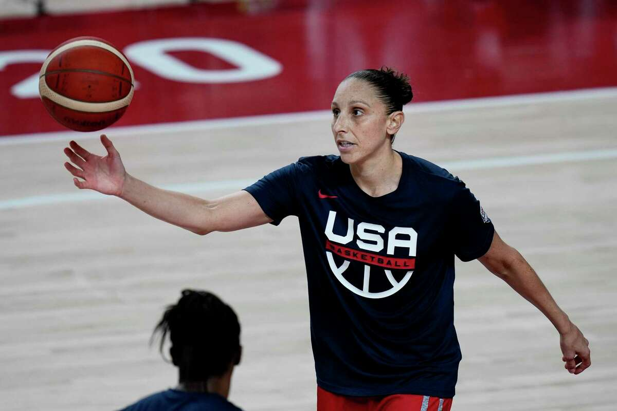 United States' Diana Taurasi takes part in a women's basketball practice at the 2020 Summer Olympics, Saturday, July 24, 2021, in Saitama, Japan. (AP Photo/Eric Gay)