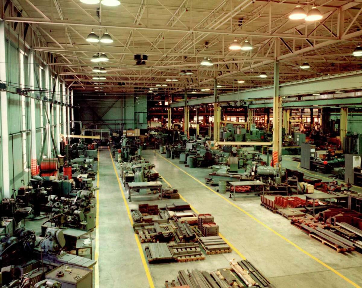This photo shows an interior view of the operations of Ex-Cell-O which was formerly housed inside the Manistee Iron Works building. (Manistee County Historical Museum photo)