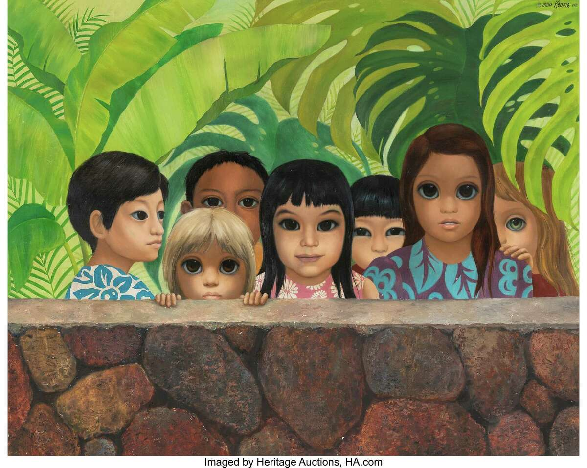 """""""Eyes Upon Us,"""" a 1971 painting by Margaret Keane, has been recovered 50 years after it was stolen."""