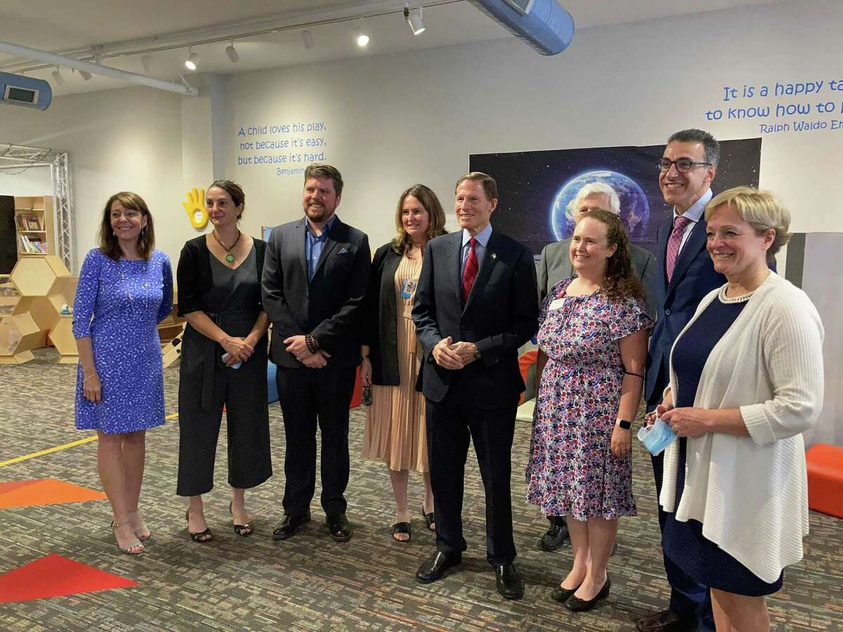 A group of local venue directors and members gathered at KidsPlay Children's Museum in Torrington for a visit from U.S. Sen. Richard Blumenthal to announce the SBA's Shuttered Venues grants for arts organizations around Connecticut.