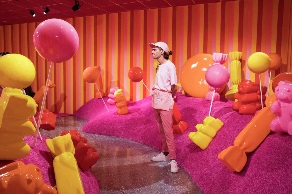 Silk Worm works in the Gummy Garden room at the Museum of Ice Cream in San Francisco, Calif., on Sunday, September 17, 2017.