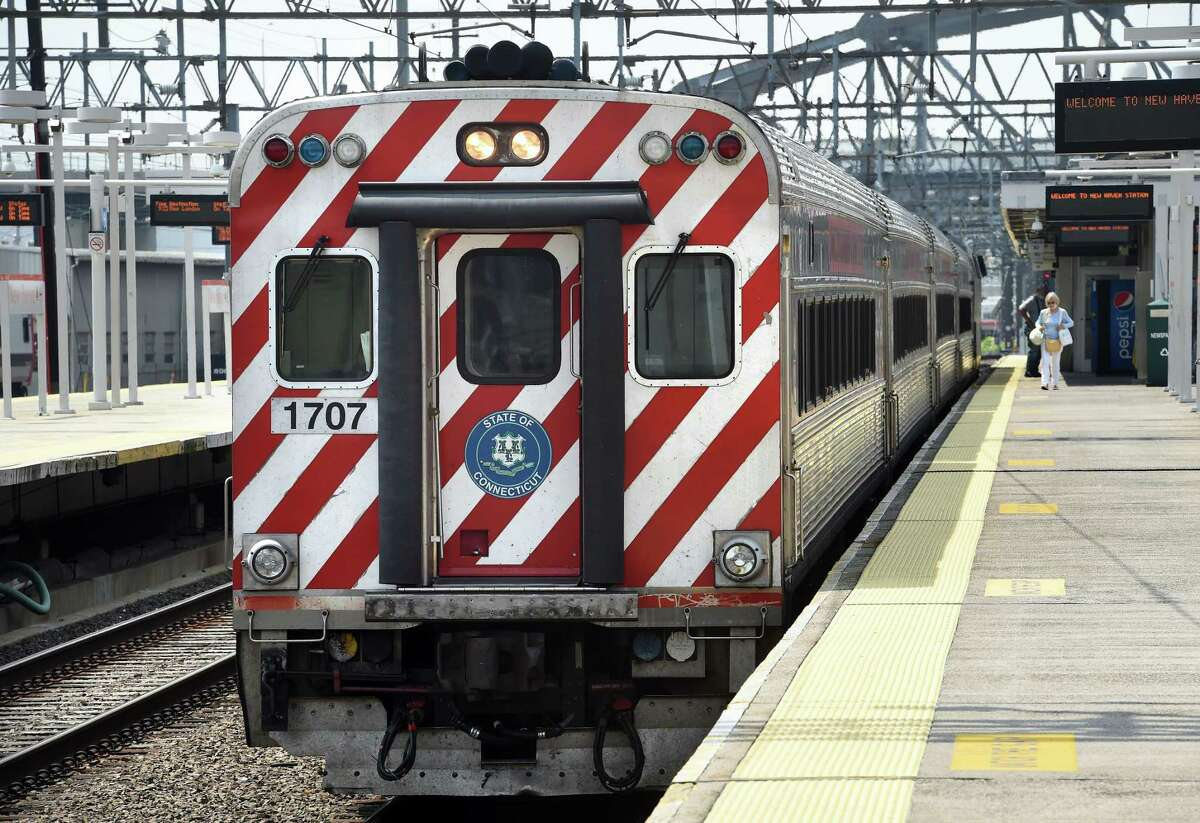 A CTrail Shore Line East train prepares to leave Union Station in New Haven on July 26, 2021.