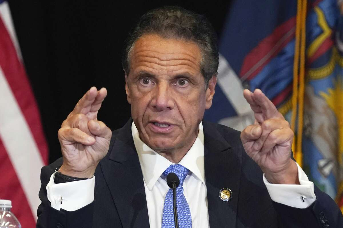 New York Gov. Andrew Cuomo speaks during a news conference at New York's Yankee Stadium on Monday, July 26, 2021.