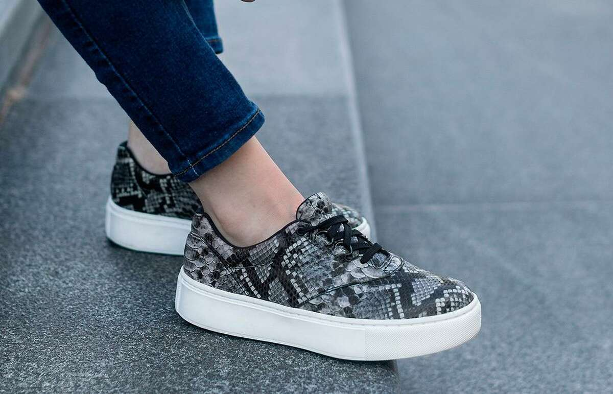 The new Free Rein women's shoe is available in seven colors, including this printed foil leather than looks like snakeskin.
