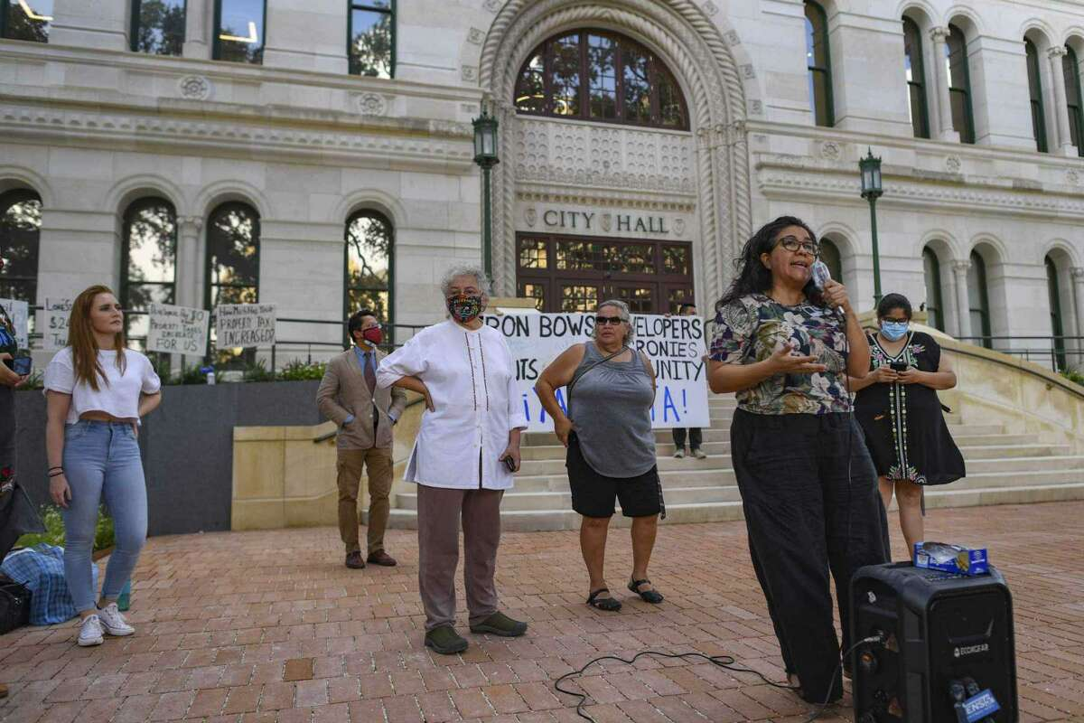 Jessica Guerrero, the outgoing chair of San Antonio's Housing Commission, speaks during a press conference regarding the city's housing at City Hall on July 14.