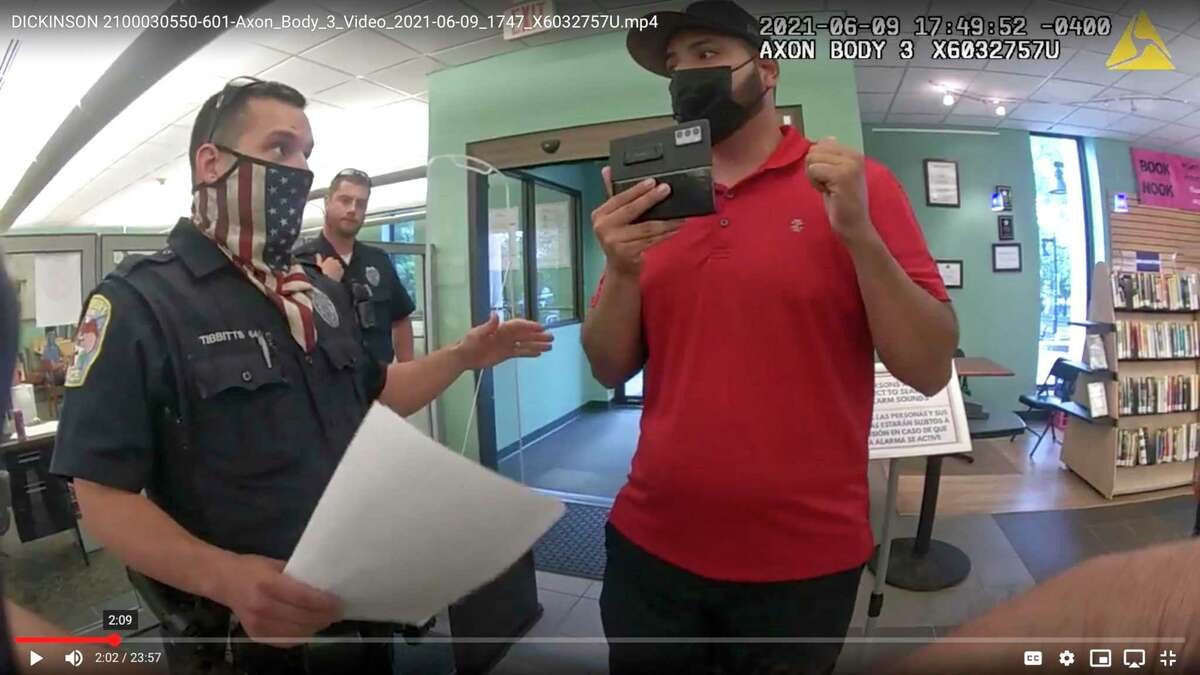 Footage from Danbury police's body cameras show police responding to YouTuber SeanPaul Reyes' attempts to film inside Danbury Library on June 9. The incident prompted a police internal investigation. The footage was released to Hearst Connecticut Media in July through a Freedom of Information Act request. Officer Paul Tibbitts faced a three-day suspension without pay and was asked to undergo training due to policies the department determined he violated.