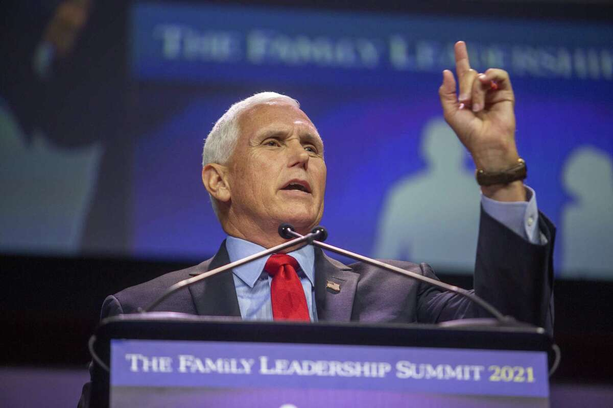 Former U.S. Vice President Mike Pence speaks during the FAMiLY Leader summit in Des Moines, Iowa, U.S., on Friday, July 16, 2021. Pence headlined the evangelical group's 10th annual leadership summit.Photographer: Rachel Mummey/Bloomberg