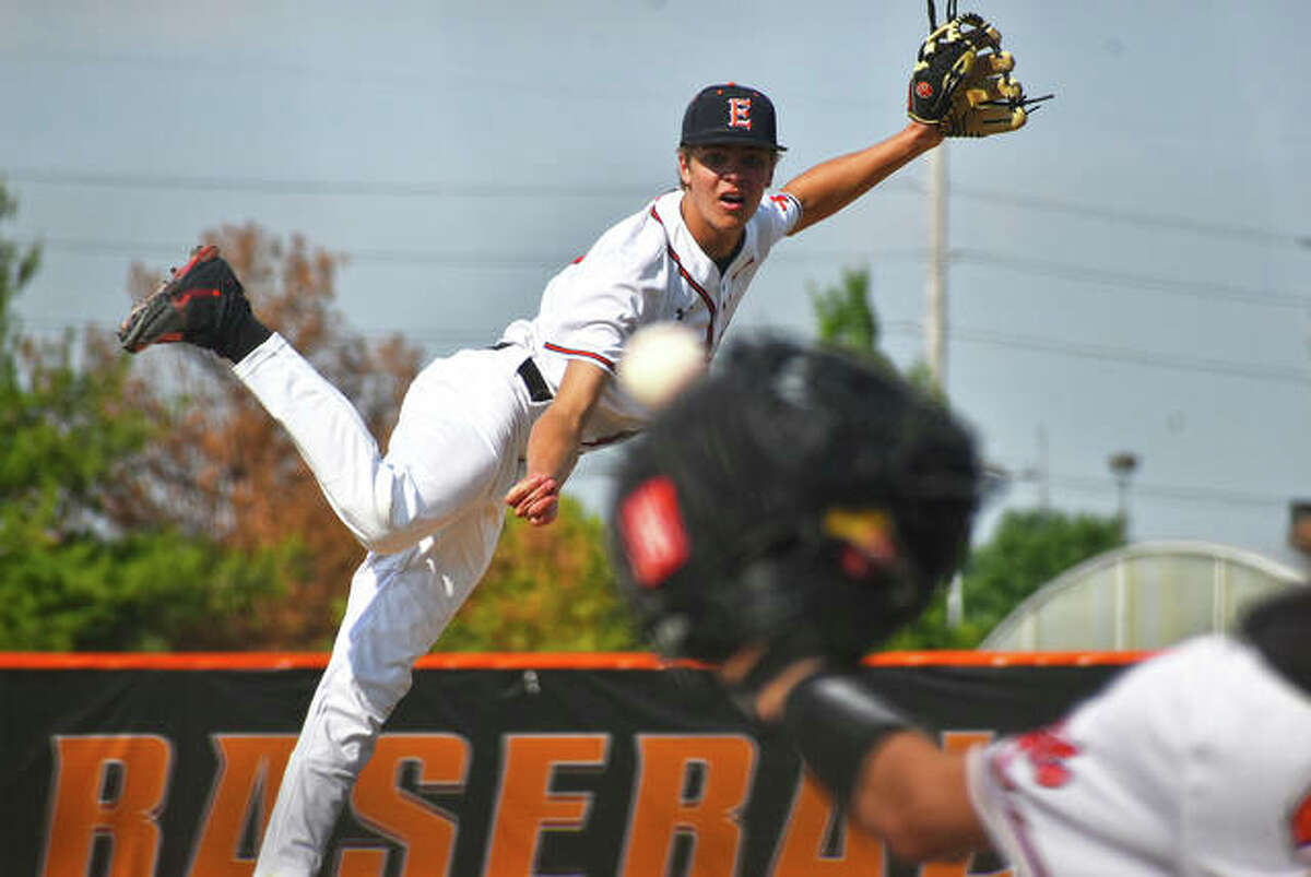 Edwardsville senior Quinn Weber fires a pitch to a Collinsville hitter during the postseason opener at Tom Pile Field.