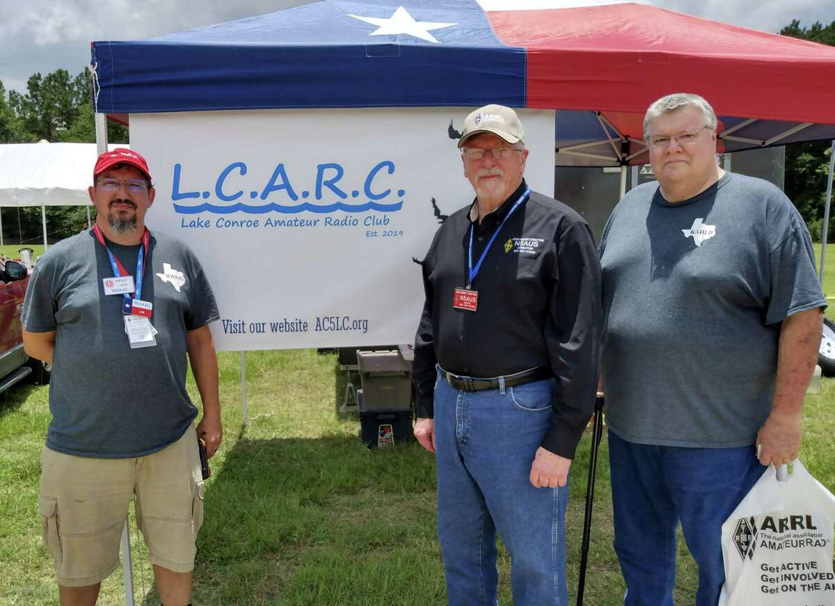 The Lake Conroe Amateur Radio Club held its summer field day on June 26. It was a 24-hour operating session to test radio equipment, radio operator skill and to make as many radio contacts as possible in the allotted time frame. Pictured from left are Jim Gatwood, Call Trustee for the group, John Robert Stratton, new ARRL West Gulf Division Director and David Cantrill, President of the Lake Conroe club.