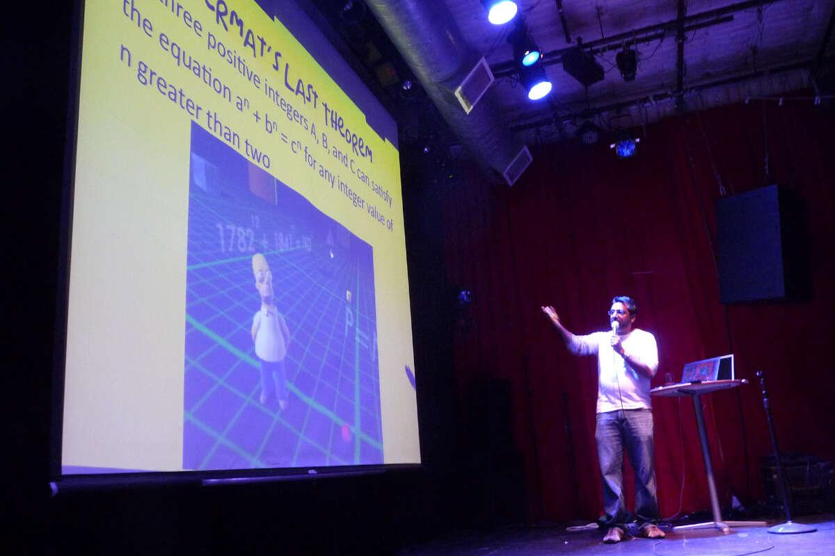 A presenter at Nerd Nite SF.