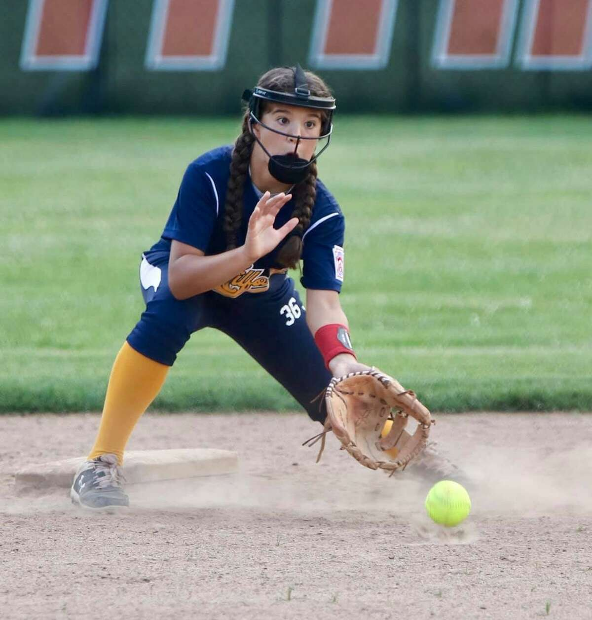 Gabby Rodriguez is Milford's shortstop. She drove in two runs in a four-run sixth when the Connecticut Little League softball champion advanced in the East Region.