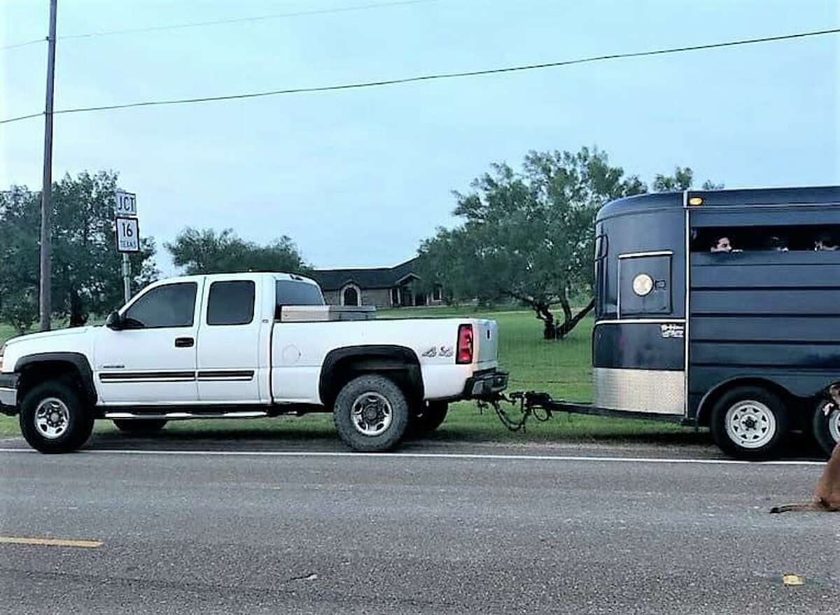 Around 20 migrants were found in and outside of a horse trailer near Hebbronville last week.