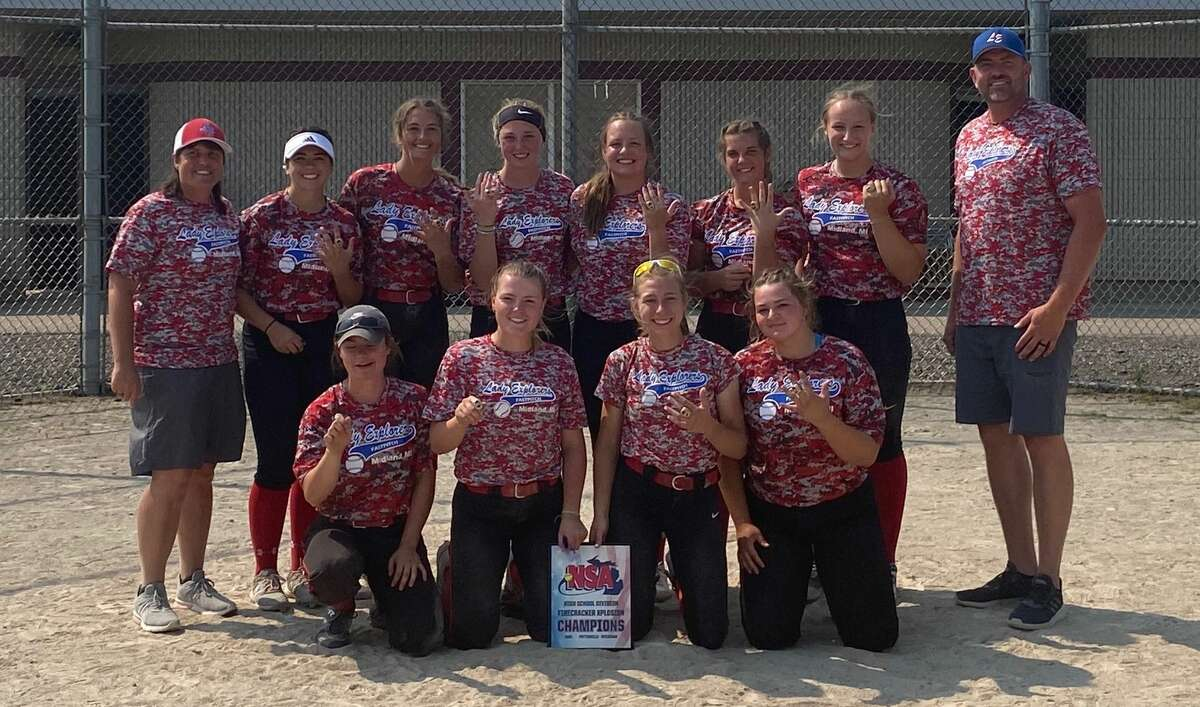 Members of the Midland Lady Explorers 18U team pose after winning the Firecracker Xplosion tournament in Potterville this summer. They are (front, from left) Carolina Kern, Ally Sutton, Gabby Schloop, Kelsey Merillat; and (back, from left) manager Casey Kristin, Jenna Holzinger, Savannah Sprague, Lakin Fryzel, Markie Hooton, Grace Schloop, Taylor Sanborn, and assistant coach Tim Gilbert. Not pictured are Laney Wiley, Taylor Krzyzaniak, and assistant coach Fred Kelly.