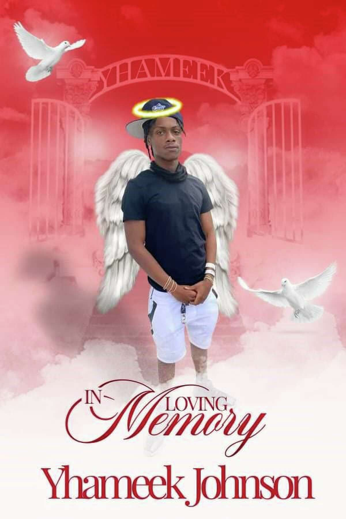 A photo of 18-year-old Yhameek Johnson with angel wings, contributed by his family