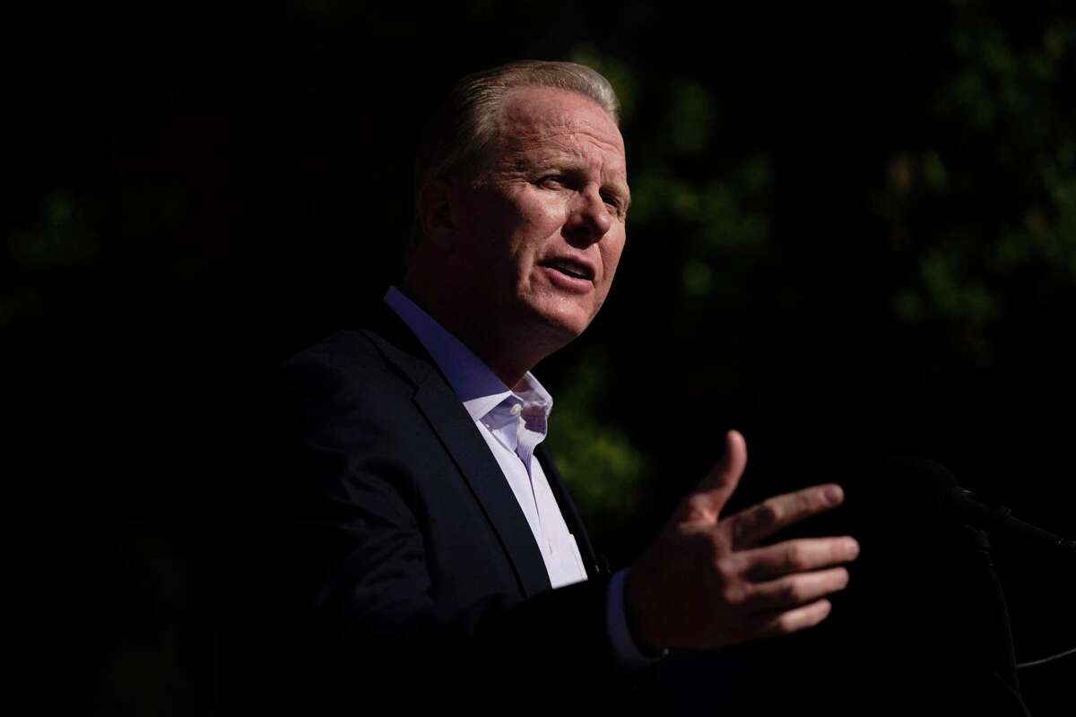 Former San Diego Mayor Kevin Faulconer, shown here during during a news conference on Feb. 21, 2021, is the first choice among some Republican party insiders for the recall election against Gov. Gavin Newsom. Faulconer could be in line for an official party endorsement on Aug. 7, but some other candidates in the race say the party shouldn't be annointing a top pick.