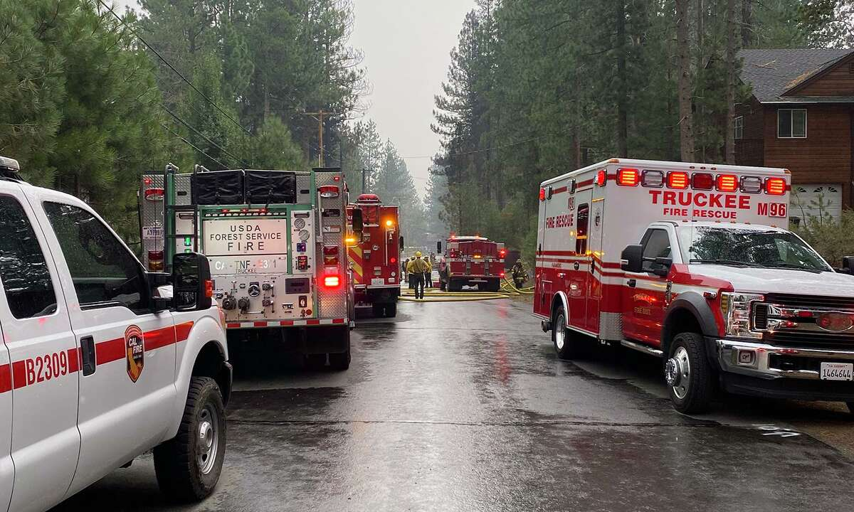 Emergency crews and law enforcement respond to reports of a plane crash in the area of Reynolds Way in Truckee on Monday afternoon, July 26, 2021.