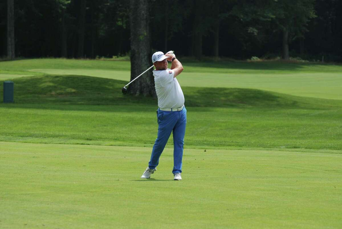 Peter Ballo shot an opening-round 64 at Country Club o Darien to lead at the 87th Connecticut Open on July 26, 2021.