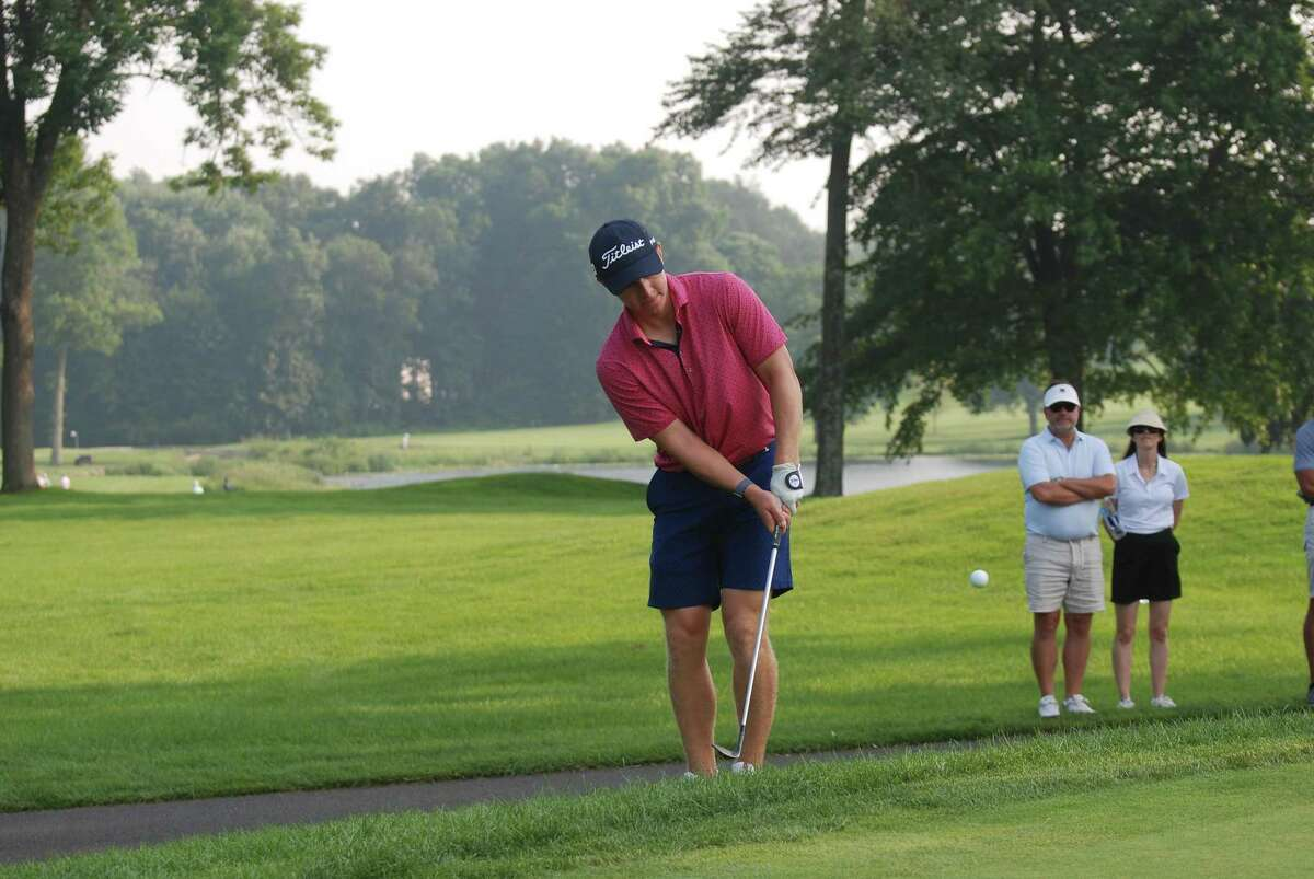 Ben Carpenter, a sophomore to be on the Yale University golf team, is tied or second at the Connecticut Open after shooting a 66 on his home course, Country Club of Darien on July 26, 2021.