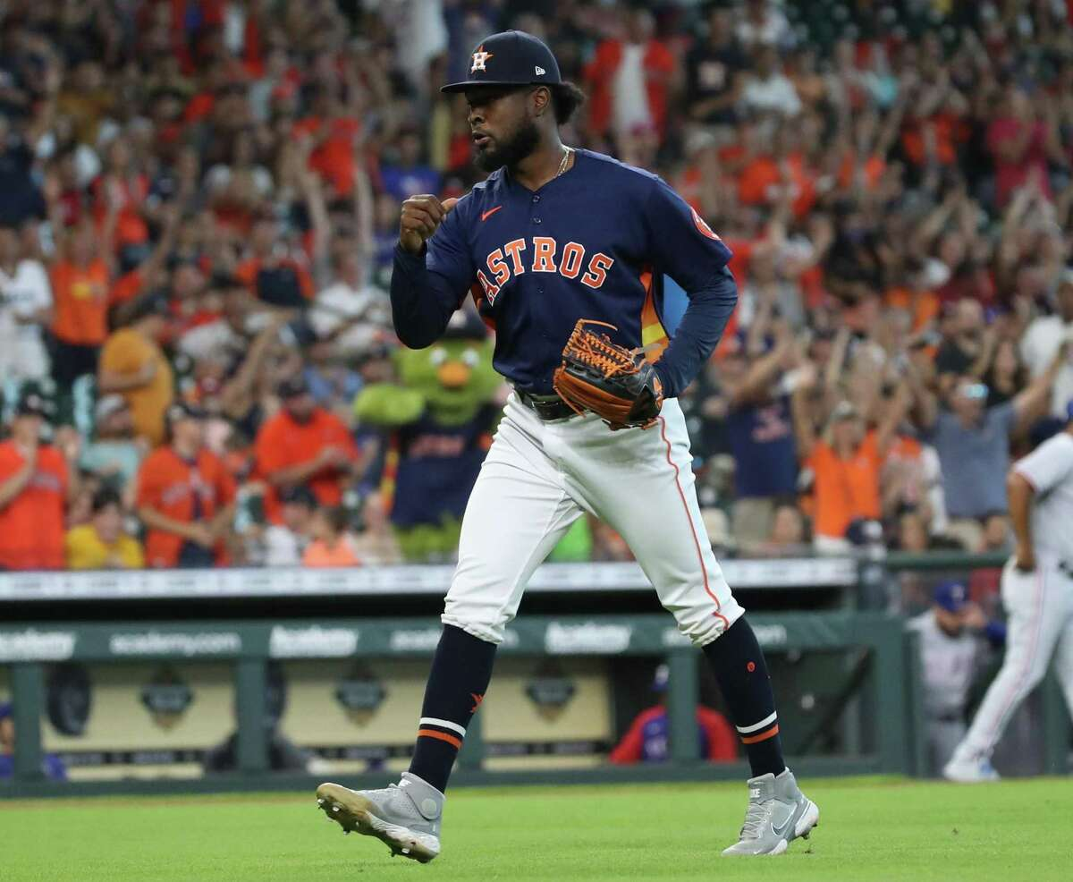 Astros pitcher Cristian Javier, who entered Sunday's game with the bases loaded and no one out in the seventh inning, was pumped after none of his inherited runners scored.