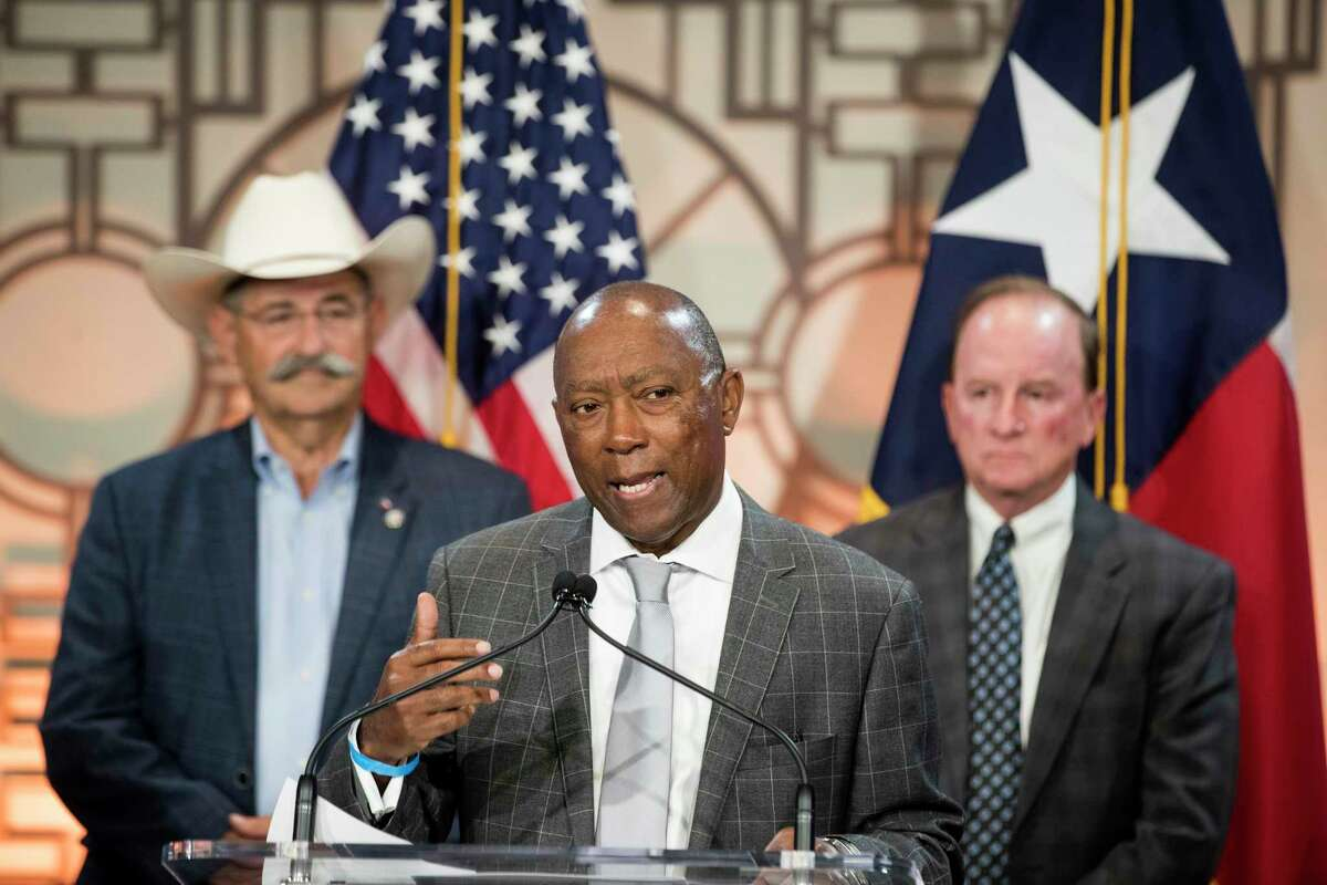 Mayor Sylvester Turner speaks during a news conference Monday, July 26, 2021 in Houston. Turner joined residents of Pleasantville, Sagemont, and other communities to discuss the disparities in how some neighborhoods, including historic communities of color, are being treated by the post-Harvey Home rebuilding program through the Texas General Land Office.