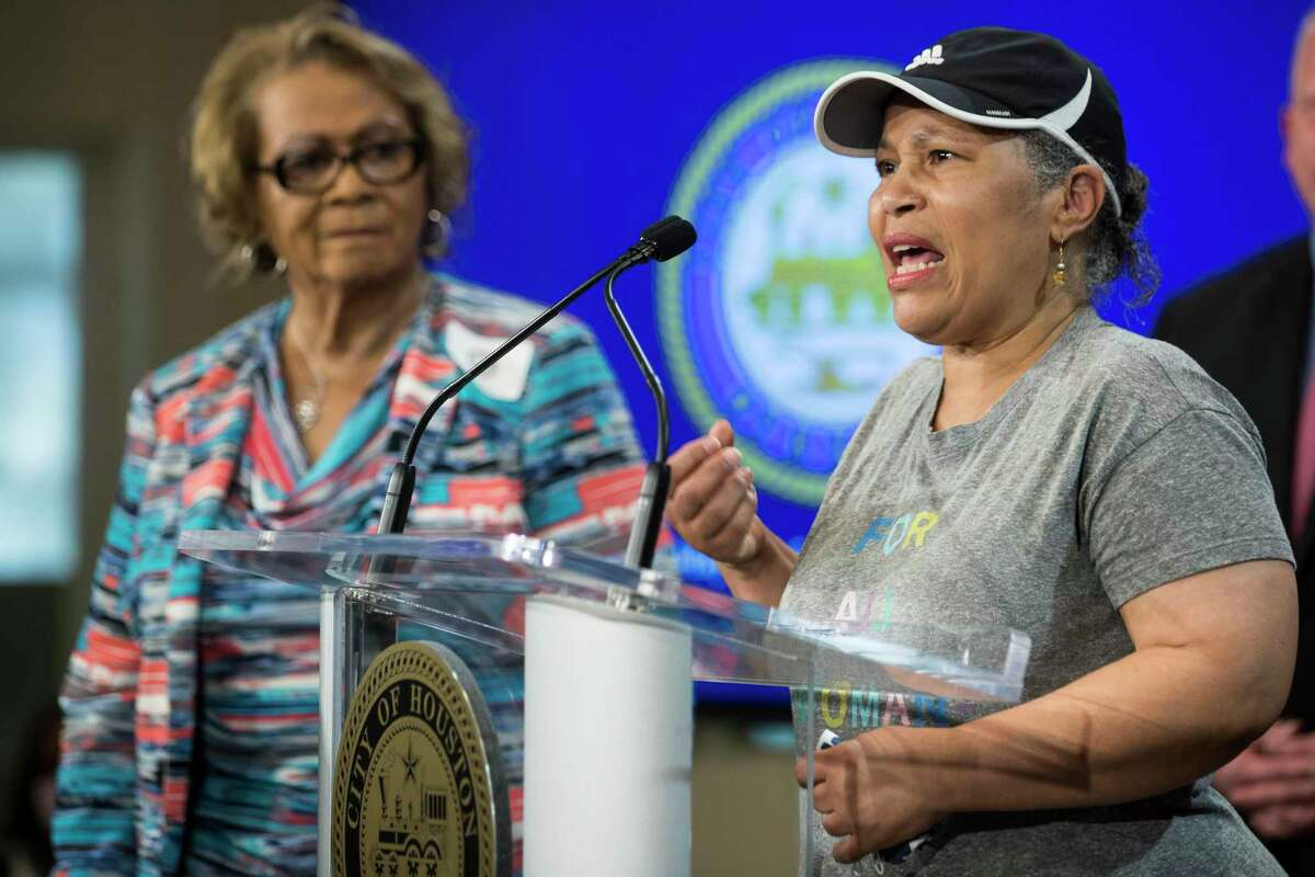 Pleasantville neighborhood advocate Mary Fontenot speaks during a news conference at City Hall during a news conference Monday, July 26, 2021 in Houston. Fontenot spoke with Mayor Sylvester Turner as he joined residents of Pleasantville, Sagemont, and other communities to discuss the disparities in how some neighborhoods, including historic communities of color, are being treated by the post-Harvey Home rebuilding program through the Texas General Land Office.