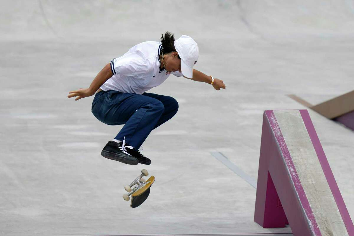"""FILE - In this July 26, 2021, file photo, Alexis Sablone of the United States competes in the women's street skateboarding finals at the 2020 Summer Olympics, in Tokyo, Japan. The Tokyo Games are shaping up as a watershed for LGBTQ Olympians. Openly gay Sablone says """"it's about time."""""""