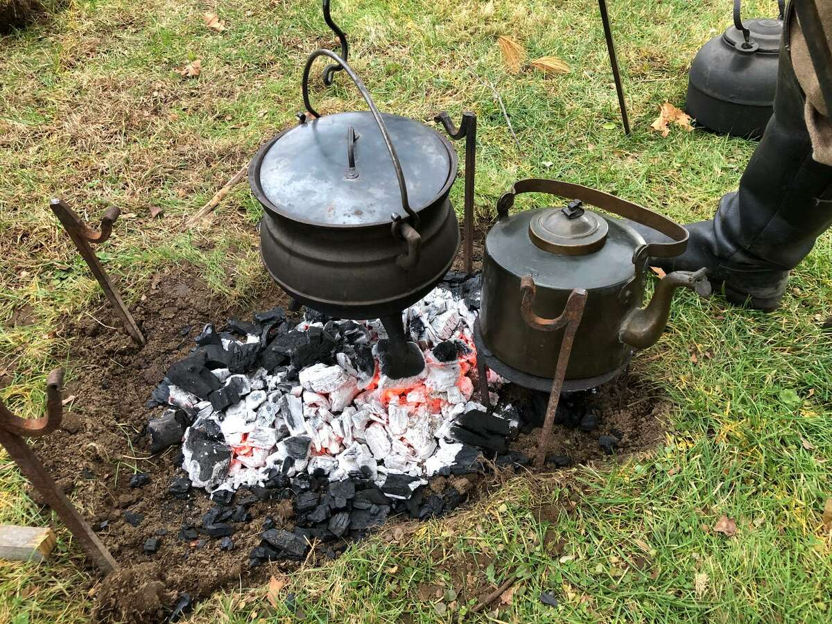 Close-up view of the Glebe House Museum's frontier-like cooking site.