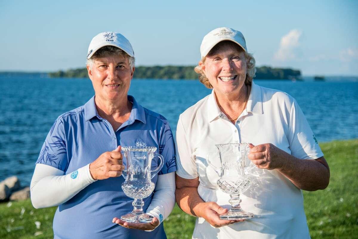 Pat Mayne, left, of Western Turnpike and Karen Feldman of Olde Kinderhook won the 2021 NYS Women's Senior Amateur Four-Ball Championship on July 23, 2021, at Lakeshore Yacht & Country Club in Cicero. (Dan Thompson/NYSGA)
