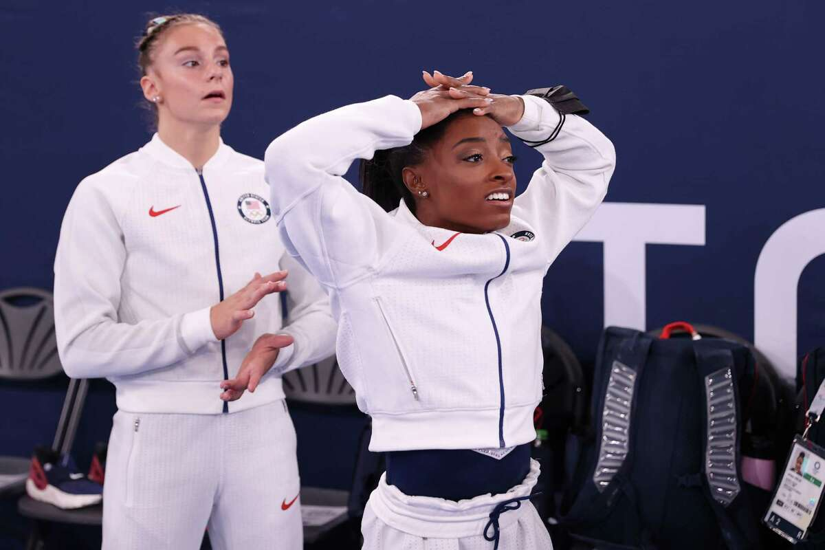 TOKYO, JAPAN - JULY 27: Simone Biles of Team United States reacts during the Women's Team Final on day four of the Tokyo 2020 Olympic Games at Ariake Gymnastics Centre on July 27, 2021 in Tokyo, Japan.