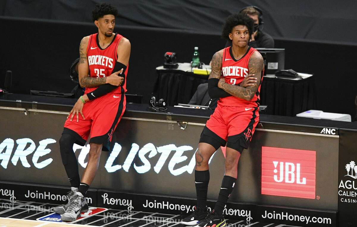 Christian Wood (left) and Kevin Porter Jr. (right) figure to be key pieces in the Rockets' rebuild. They hope the Rockets land a piece in Thursday's draft that will speed up the process.