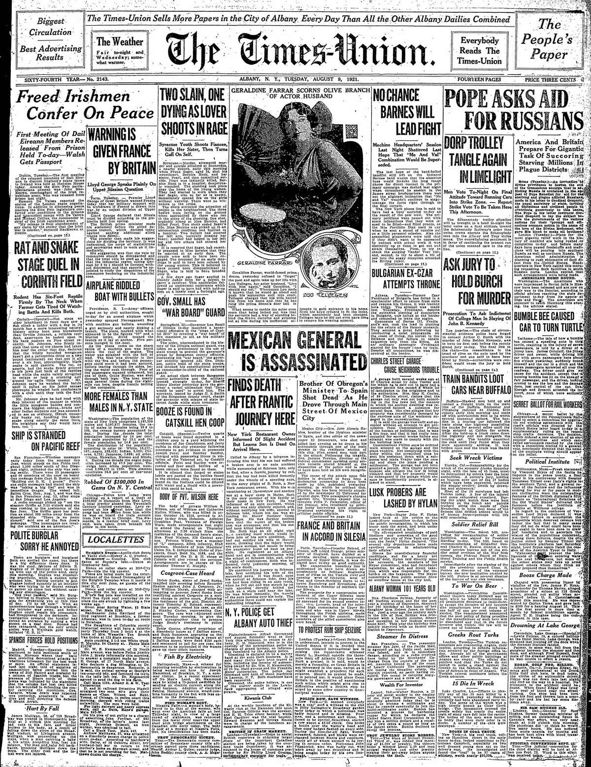 Front page of the Times Union, Aug. 9, 1921.
