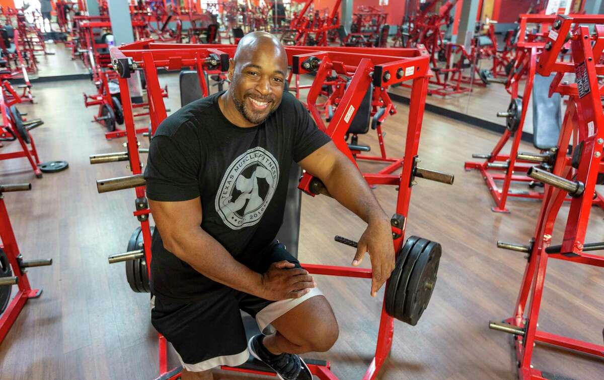 Shawn Phillips poses Thursday, July 22, 2021 at his Converse gym, Texas Muscle & Fitness.